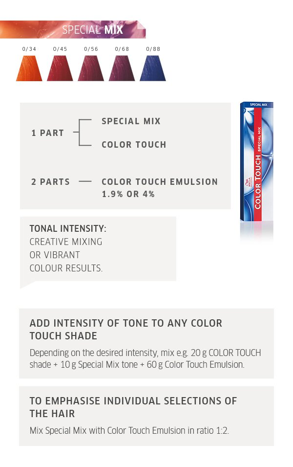 special mix, tonal intensity, add intensity of tone to any colour, to emphasise individual selections of hair