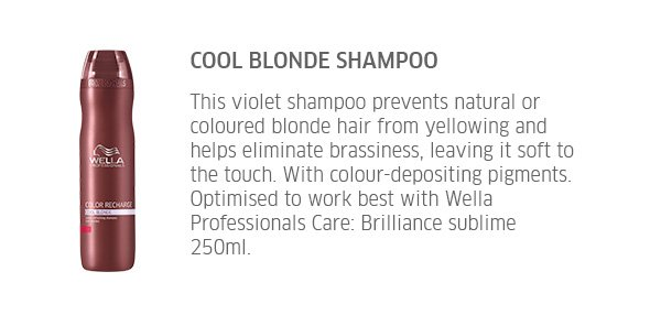 Cool Blonde Shampoo - This violet shampoo prevents natural or coloured blonde hair from yellowing and helps eliminate brassiness, leaving it soft to the touch