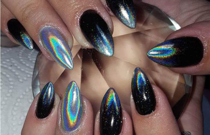festive holographic nails