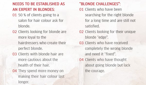 Why a salon/colourist needs to be established as an expert in blondes & the different types of blonde challenges