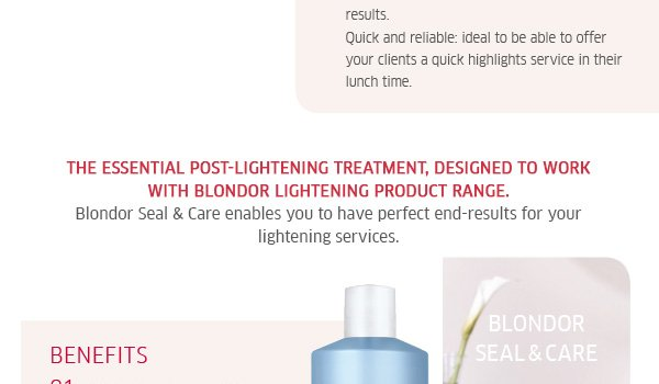 The essential post-lightening treatment, designed to work with Blondor lightening product range