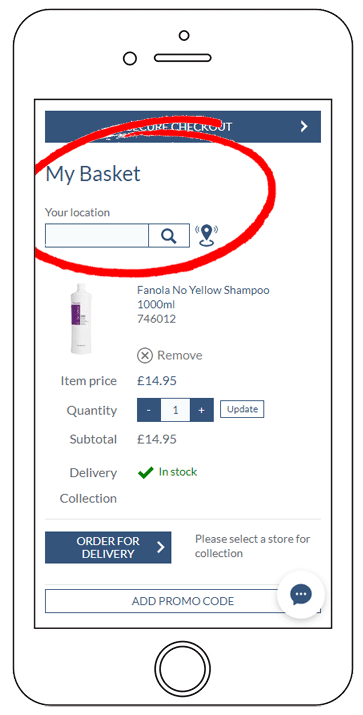 Click & Collect - Step 2 - Find Your Location Mobile