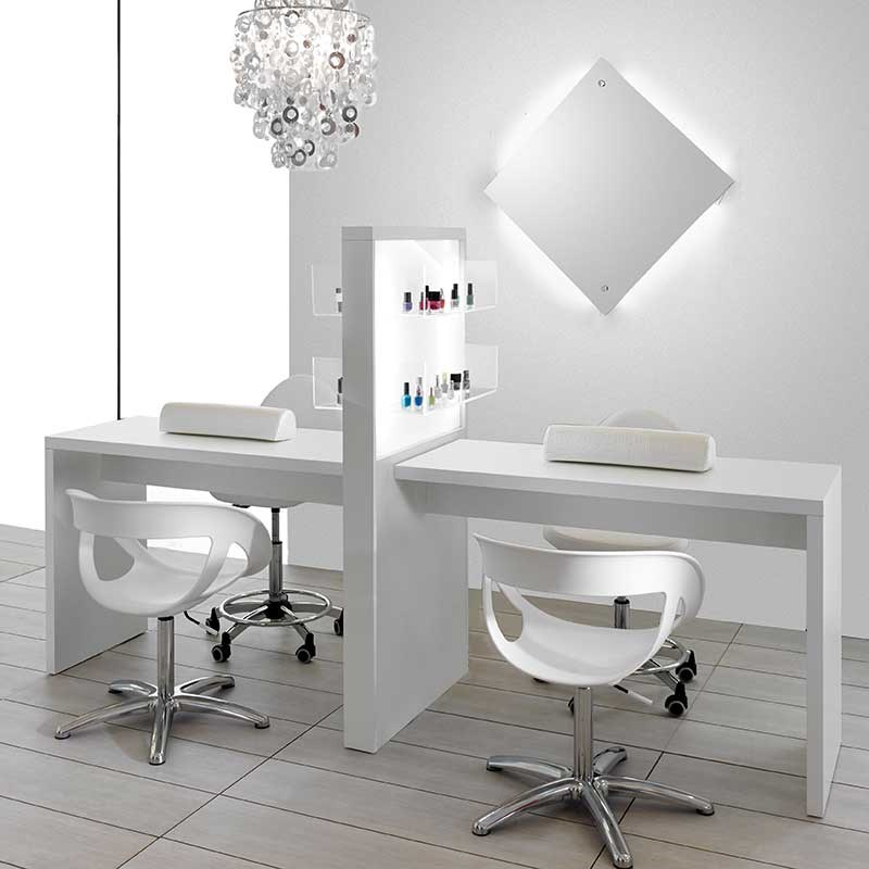 Salon Ambience Allure Double White Manicure Table with Product ...