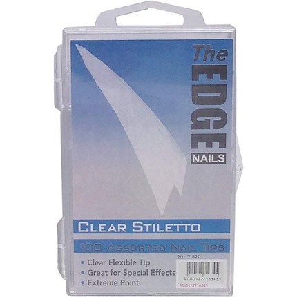 The Edge Clear Stiletto Nail Tips 100 Assorted