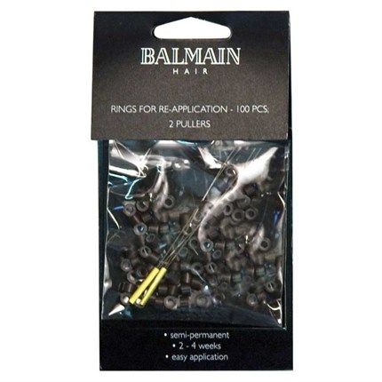 Balmain 100 Re-application Rings & 2 Pullers - Brown
