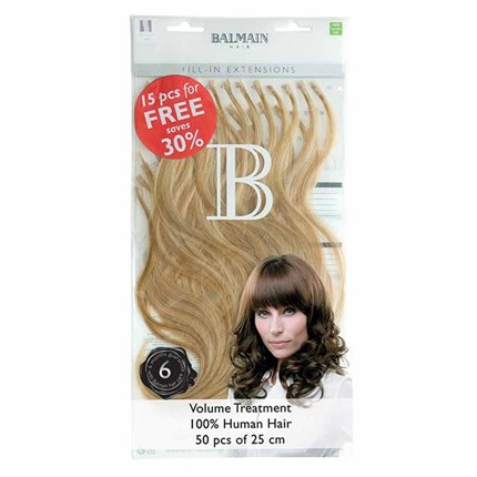 Balmain Fill-In Extensions Natural Straight Hair 25cm 50pcs - 4