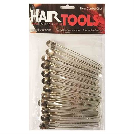 Hair Tools Control Clips Silver Pk12
