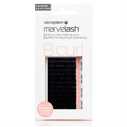 Salon System Marvelash Lash Extensions B Curl 0.07 (Extra Fine) - Assorted (8,9,10,11,12mm)
