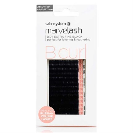 Salon System Marvelash Lash Extensions B Curl 0.05 (Ultra Fine) - Assorted (8,9,10,11,12mm)