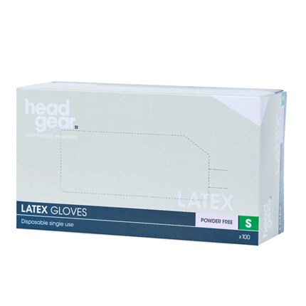Head-Gear Latex Disposable Powder Free Gloves Box 100 - Small