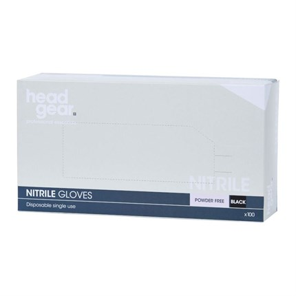 Head-Gear Nitrile Disposable Powder Free Gloves Box 100 - Black, Small