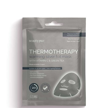 BeautyPro Thermotherapy Warming Silver Foil Mask with Vitamin C & Green Tea