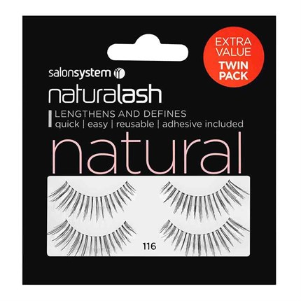 Salon System Naturalash Strip Lashes (Extra Value Twin Pack) - 116 Black