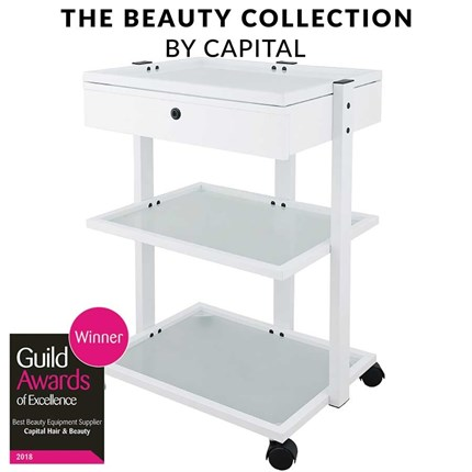 Capital Pro Beauty Trolley with Drawer - White