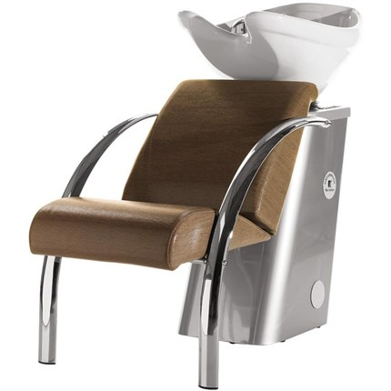 Salon Ambience Dreamwash Washpoint - Chrome Armrests, White Basin - Vintage Brown F5
