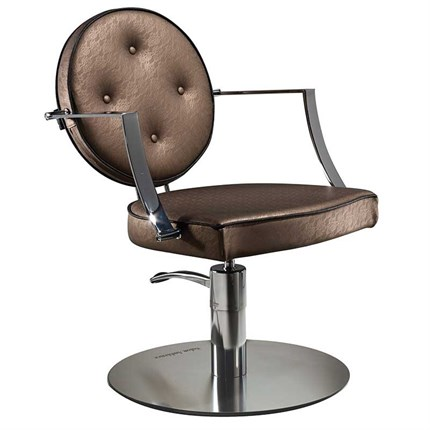 Salon Ambience Camille Chair [Hydraulic Pump] + Disc Base - Light Grey G5