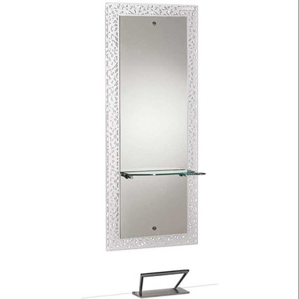 Salon Ambience Fiji White Mirror - Round Aluminium Shelf with Footrest
