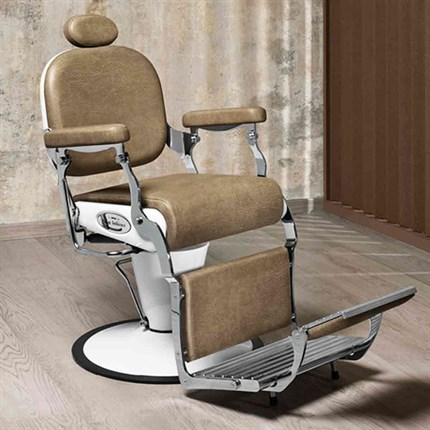 Salon Ambience Premier Barber Chair + Disc Base + Vintage Legrest - Black Alligator 49