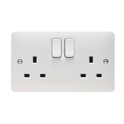 REM Twin Electrical Socket - White