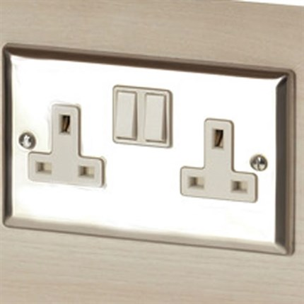 REM Twin Electrical Socket - Chrome
