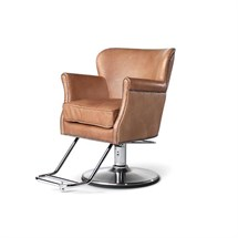 Takara Belmont Dux Barber Chair In camel, + Matt Silver Hydraulic Round Base