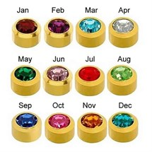 Caflon Gold Plated Mini Assorted Birthstone Studs (Pack of 12)