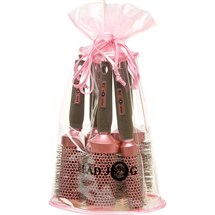 Head Jog Oval Pink Brush Bag (5 Radial Brushes + Bag)