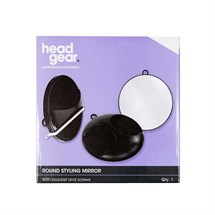 Head-Gear Round Mirror Black with Bracket