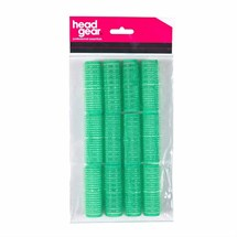 Head-Gear Velcro Rollers - Green Pk12 (21mm)