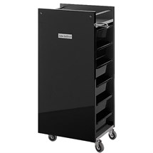 Salon Ambience Glam Trolley Cabinet - Black Panels + Black Trays