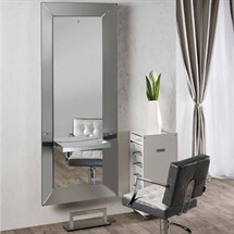Salon Ambience Abstract Styling Unit Round Aluminum Shelf + Footrest