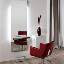 Salon Ambience Lunar Mirror - Rectangle Aluminium Shelf with Footrest