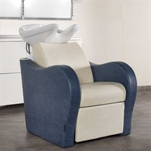 Salon Ambience Single Luxury Wash Unit - White Basin + Footrest
