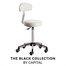 Capital Bianca Stool With Backrest - White