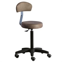 Luca Rossini Romeo+ Cutting Stool with Backrest - Black Base in Cappuccino (63)