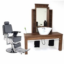 REM Emperor Barber Chair & Montana Barber Unit With Basin Package
