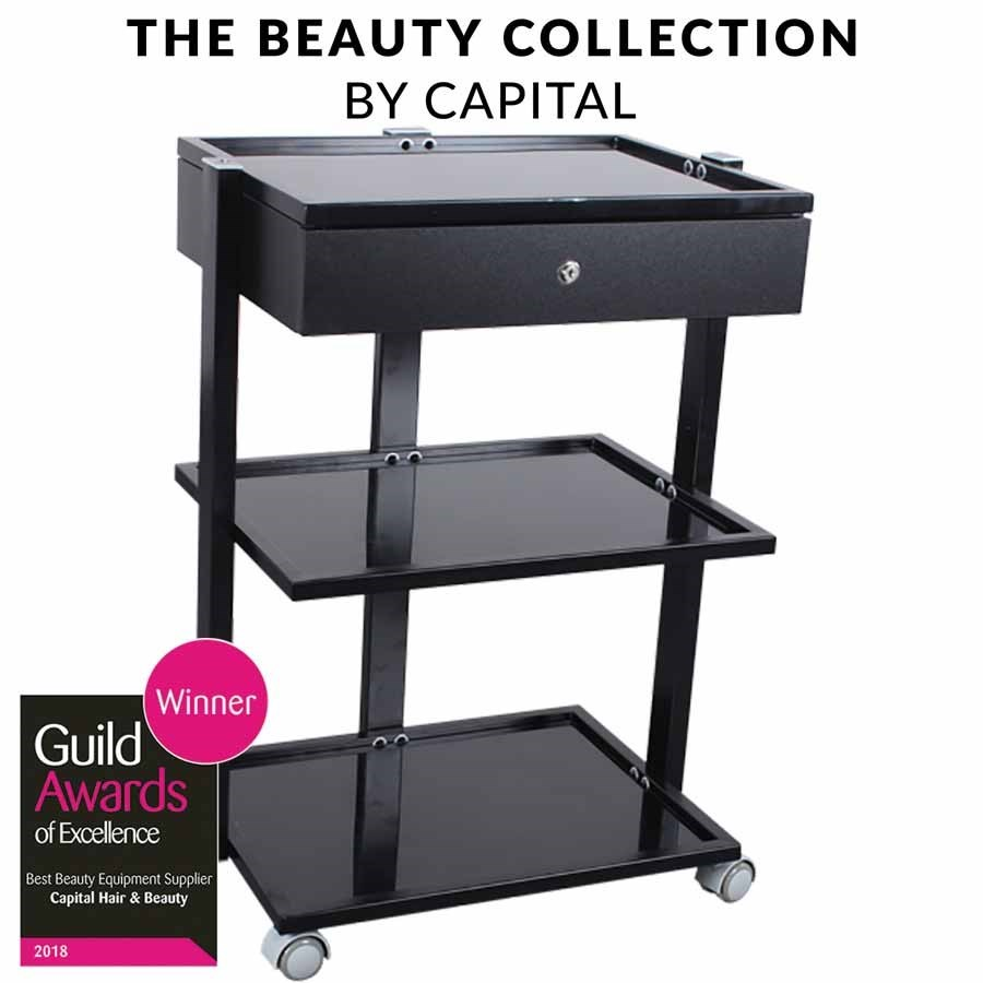 Capital Pro Beauty Trolley With Drawer Black